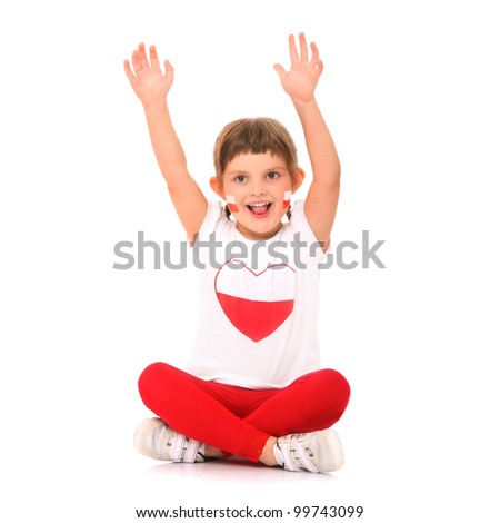 A picture of a Polish little girl in national colors cheering over white background - stock photo