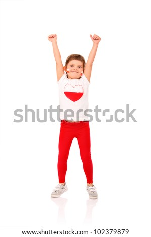 A picture of a Polish little girl in national colors smiling over white background - stock photo