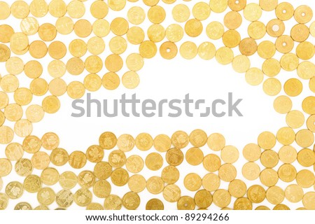 A picture of a shape of a car created with golden coins - stock photo