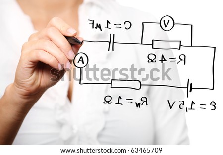 A picture of a teacher during a lecture in physics over white background