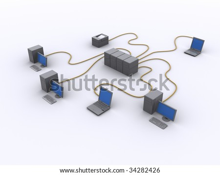 a picture of a wired network diagram - stock photo