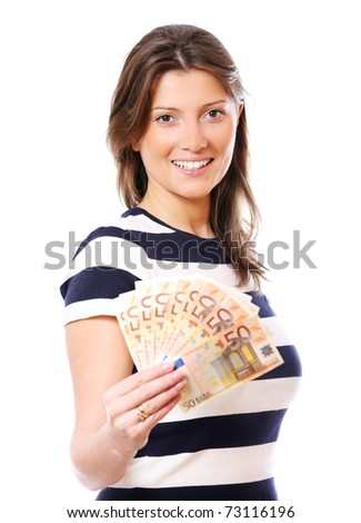 A picture of a woman holding a fan of fifty-euro notes over white background - stock photo
