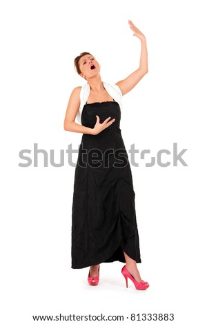 A picture of a young beautiful opera singer performing over white background - stock photo