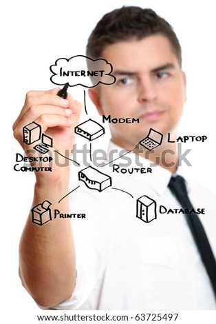 A picture of a young businessman drawing a diagram connected with internet and computer - stock photo