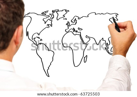a picture of a young businessman drawing a world map - stock photo
