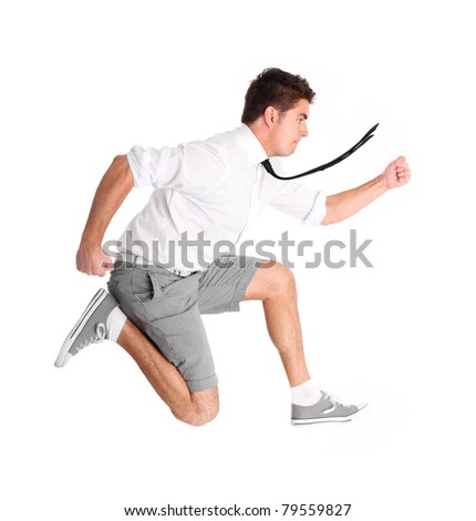 A picture of a young businessman running against white background