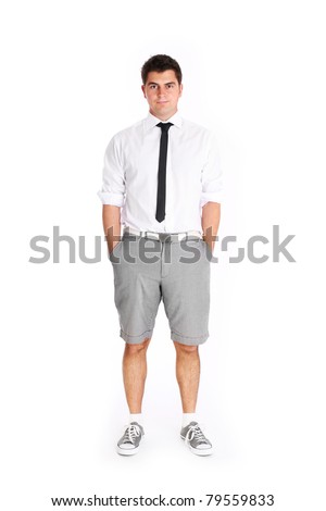 A picture of a young businessman standing in shorts against white background