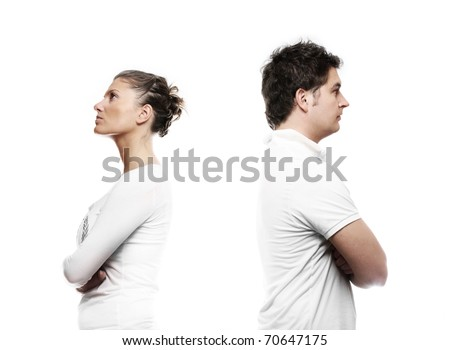 A picture of a young couple turning their back over white background - stock photo