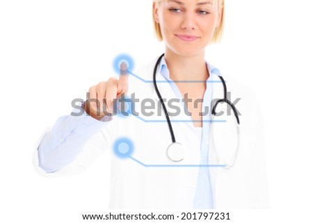 A picture of a young doctor pressing a button over white background