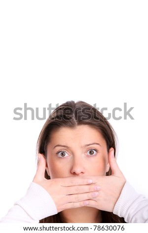 A picture of a young girl with her lips covered over white background - stock photo