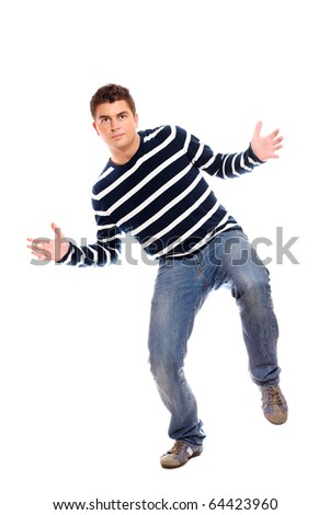 A picture of a young man dancing over white background