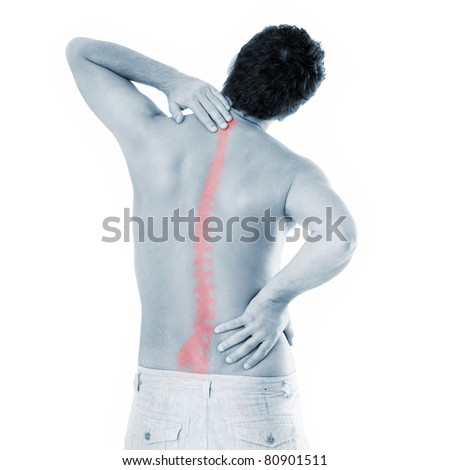 A picture of a young man with a backache suffering over white background