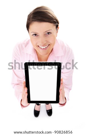 A picture of a young woman holding a tablet computer over white background - stock photo