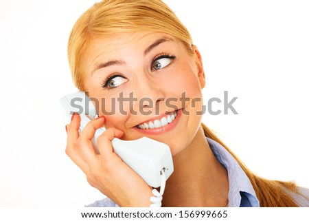 A picture of a young woman talking on the phone