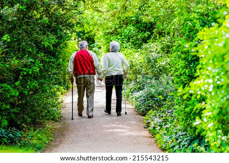 A picture of an old couple strollingin the park - stock photo
