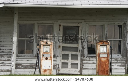 a picture of an old gas station - stock photo