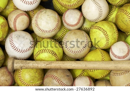 a picture of baseballs and softballs - stock photo