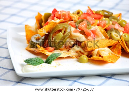 A picture of chicken nachos served on a white plate with sour cream - stock photo