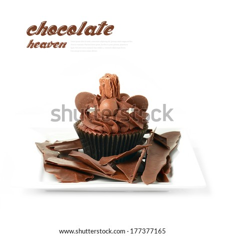 A picture of chocolate heaven. Chocolate cupcake covered in chocolate sprinkles and a chocolate flake placed on a plate smothered in additional shards of dark chocolate. Copy space. - stock photo