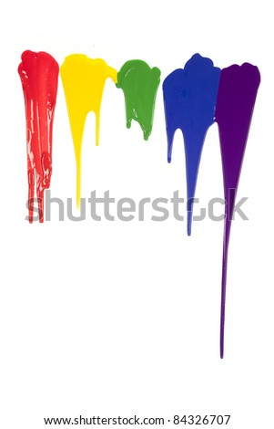 A picture of different colors of paint dripping. - stock photo