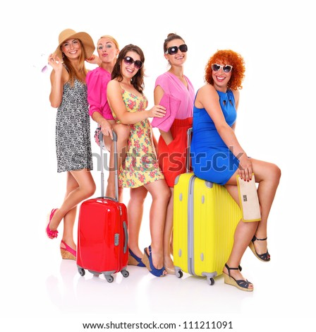 A picture of five girl friends with their luggage ready to on holidays over white background