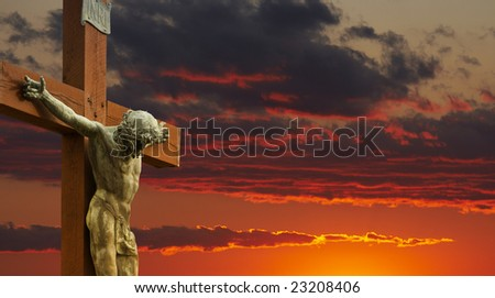 a picture of Jesus on the cross - stock photo