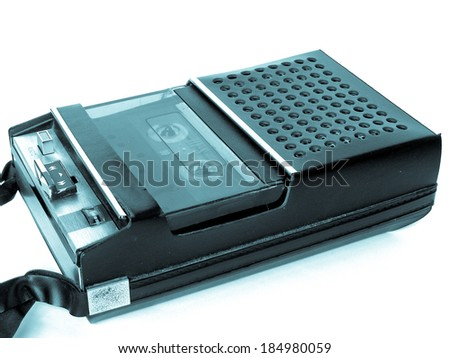 A picture of Magnetic audio tape cassette recorder - cool cyanotype - stock photo