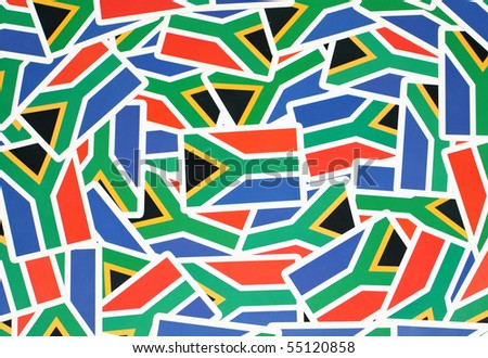 A picture of numerous South African flags - stock photo