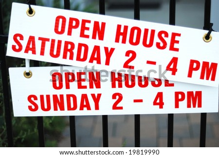 A picture of open house sign - real estate theme