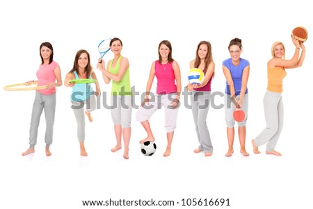 A picture of seven girls presenting different sports over white background - stock photo