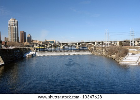 A picture of St. Anthony's water fall along Mississippi River in Minneapolis - stock photo