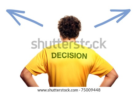 A picture of the back of a young man standing against white background and trying to make decision