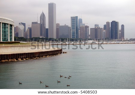 A picture of the Chicago skyline with the aquarium in the foreground