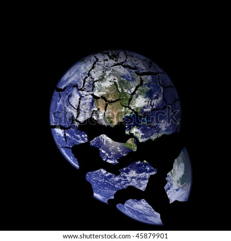 A picture of the earth with cracks falling down into space.Earth picture is taken from NASA. - stock photo