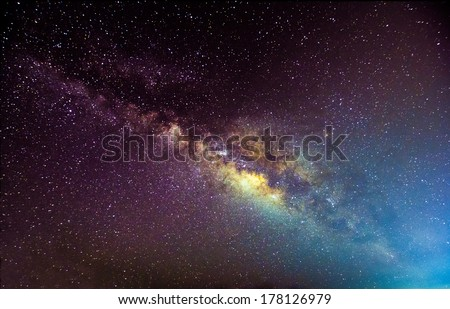 A picture of the milkyway galaxy. Processed by stacking multiple exposure into one picture. Contain noise. - stock photo