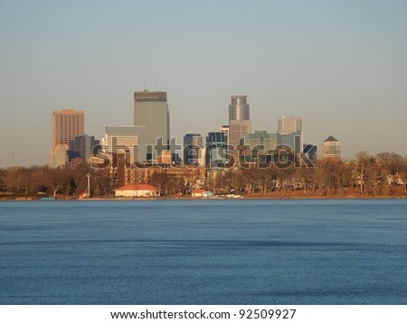 A picture of the Minneapolis Skyline from Lake Calhoun - stock photo