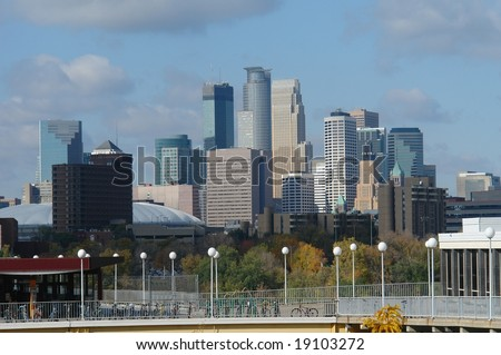 A picture of  the Minneapolis skyline from the University of Minnesota - stock photo