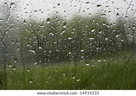 a picture of water drops on window - stock photo