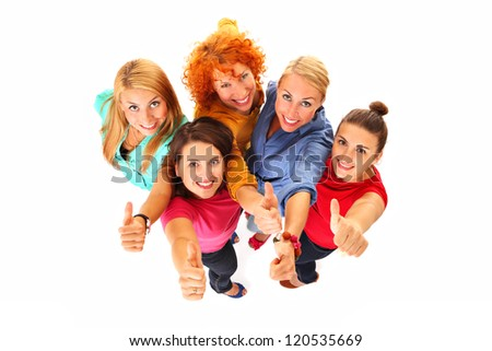 A picture of young beautiful women smiling and showing ok sign over white background - stock photo