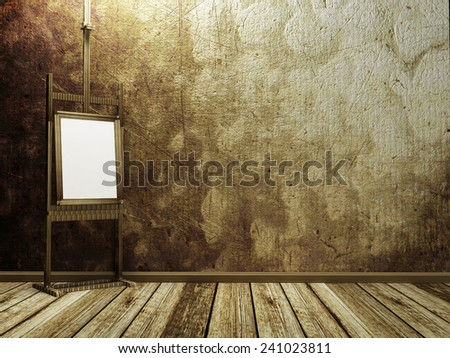 a picture on the easel, 3d rendering - stock photo