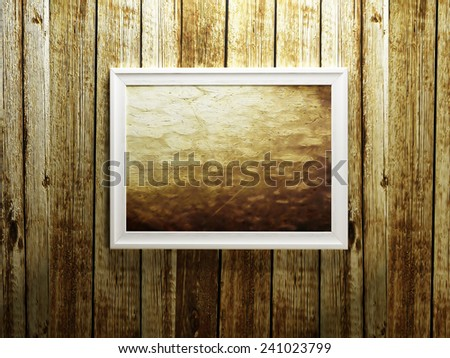 a picture on the wooden wall, 3d rendering - stock photo