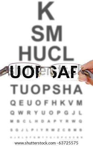 A picture presenting a pair of glasses over a board with letters at optician's