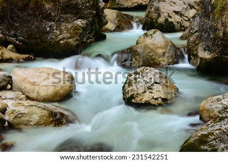 A picturesque creek in Bavarian Alps.  - stock photo