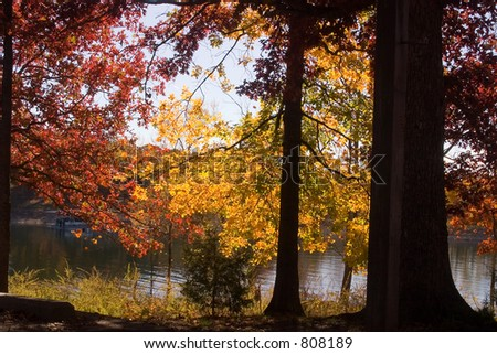 A picturesque fall scene at Table Rock Lake, Missouri - stock photo