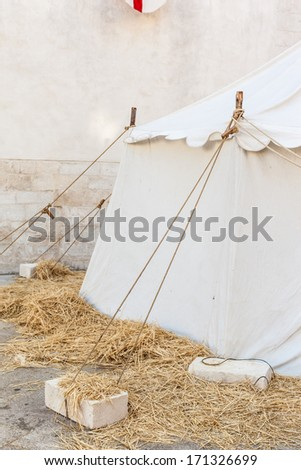 a picturesque medieval tent during a medieval fair in Italy - stock photo