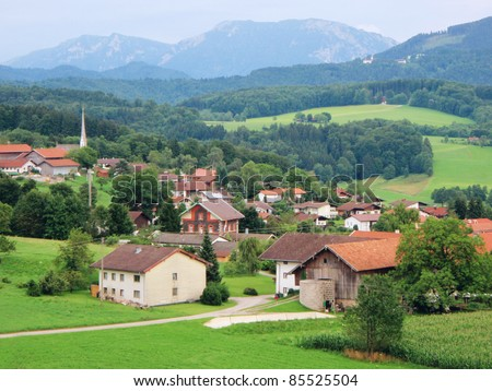 A picturesque village in the bavarian Alps - stock photo