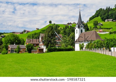 A picturesque village in the Canton of Sankt Gallen, Switzerland - stock photo