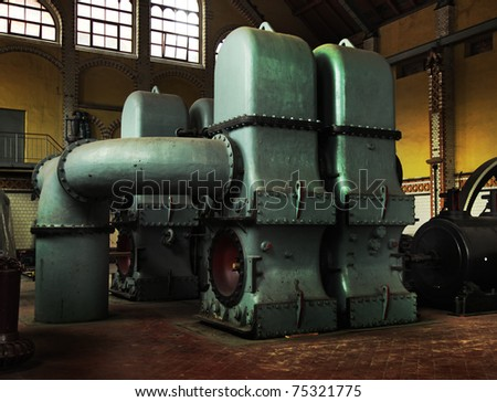 a piece of an old and rusty machinery - stock photo