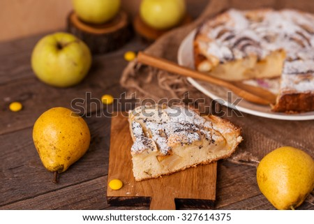 a piece of apple and pear homemade pie - stock photo
