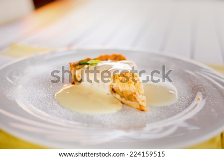A piece of apple pie with vanilla sauce and mint leaf. Shallow DOF - stock photo
